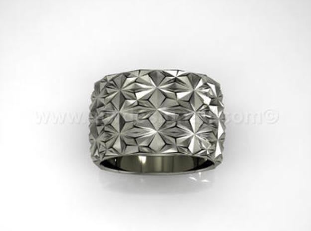 Complex Geometric Triangle Pattern Band - Simple in Fine Detail Polished Silver: 8 / 56.75