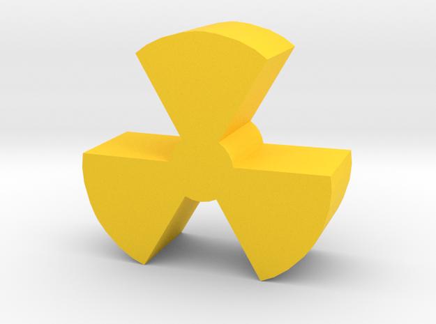 Game Piece, Radiation Symbol in Yellow Processed Versatile Plastic