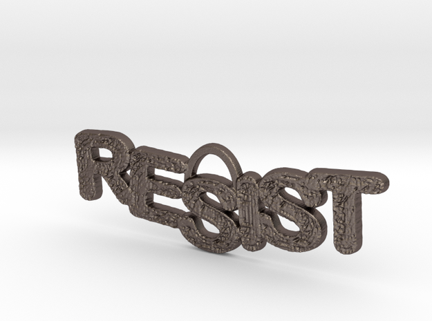 RESIST Pendant in Polished Bronzed Silver Steel