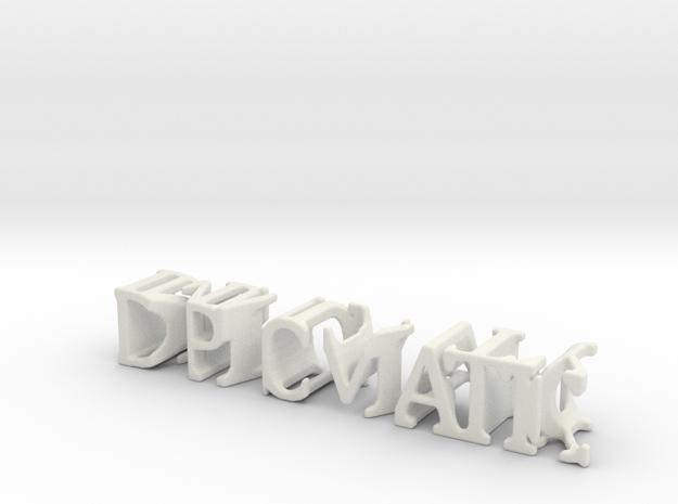 3dWordFlip: DIPLOMATIC/IMMUNITY in White Natural Versatile Plastic