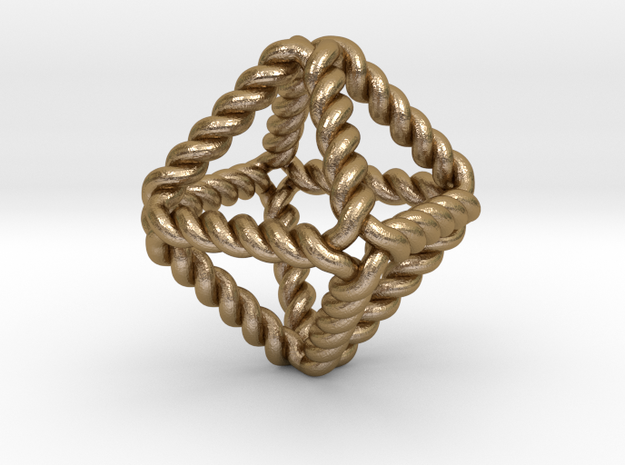 "Twisted Octahedron RH 1"" in Polished Gold Steel"