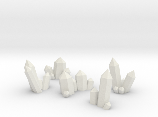 Small Basing Crystal Clusters in White Natural Versatile Plastic