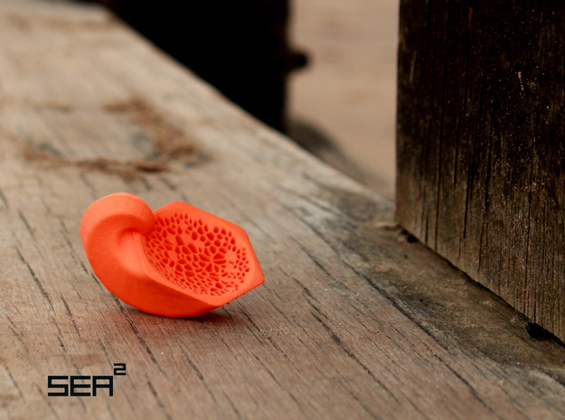 Sea² Hexagon Shell in Orange Strong & Flexible Polished