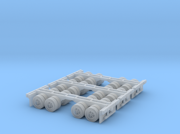 three sets of duel axles zscale in Smooth Fine Detail Plastic