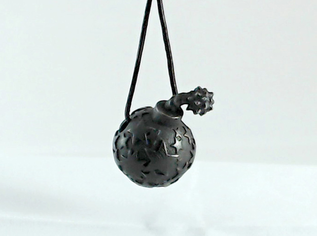 Star Bomb 3d printed Shown in Polished Grey Steel