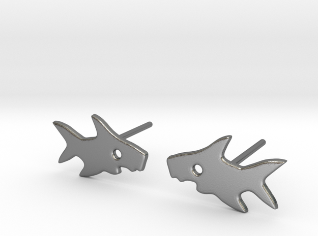 Shark Earring in Polished Silver