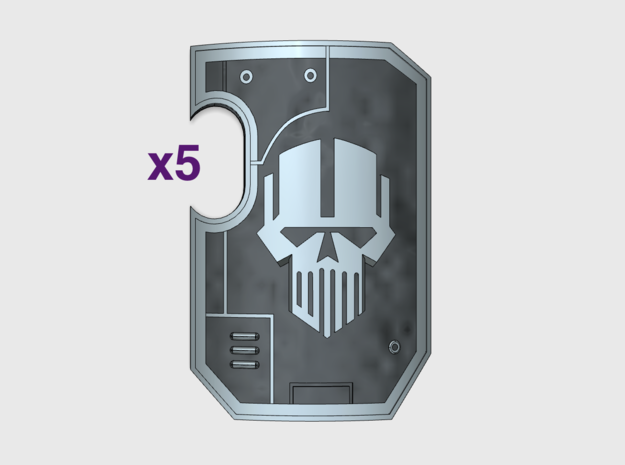 5x IronHeads- Marine Boarding Shields w/Hand in Frosted Ultra Detail