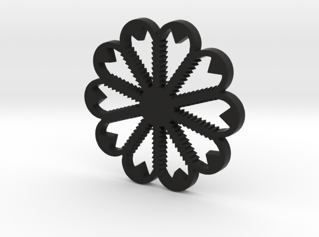 Nice Flower  in Black Natural Versatile Plastic: Large