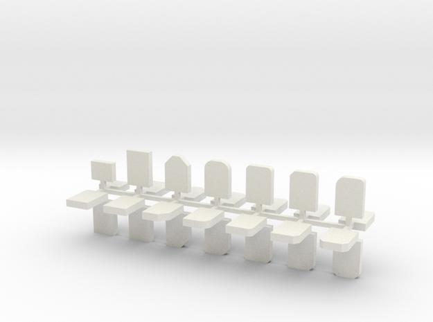 Grabsteine 28er Set 1:76 in White Natural Versatile Plastic