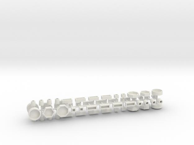 Stadtmöbelset 2 DDR 52 Teile 1:76 in White Natural Versatile Plastic