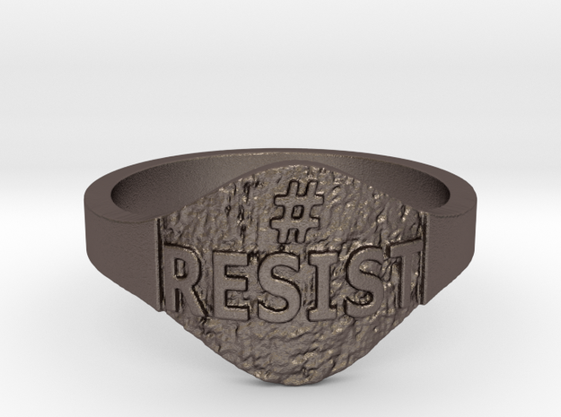 Resist Hashtag Ring in Polished Bronzed Silver Steel: 9 / 59