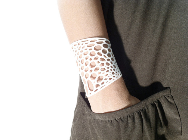 Voronoi bracelet #2 (LARGE) 3d printed White Strong & Flexible version