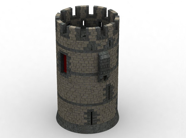HOF011 - Castle round tower in White Natural Versatile Plastic