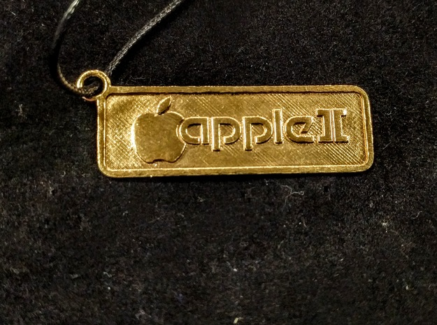 Apple II Badge Pendant in Polished Brass