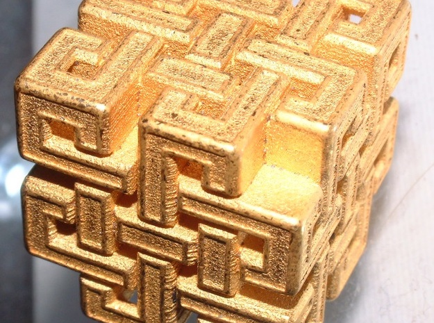 Eternal Knot Cube  in Polished Gold Steel: Small