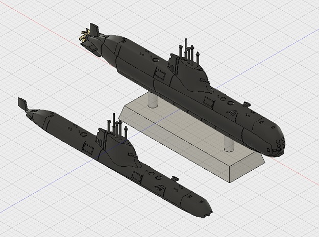 1/1250 Type 214 submarine (full hull and water lin
