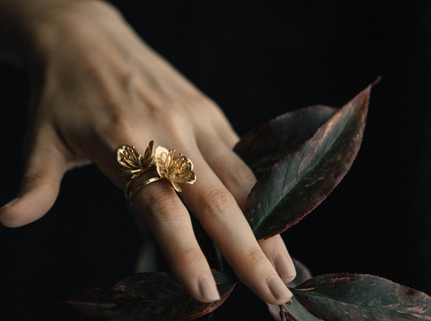 Double Cherry Blossom Ring in Polished Bronze: 6 / 51.5