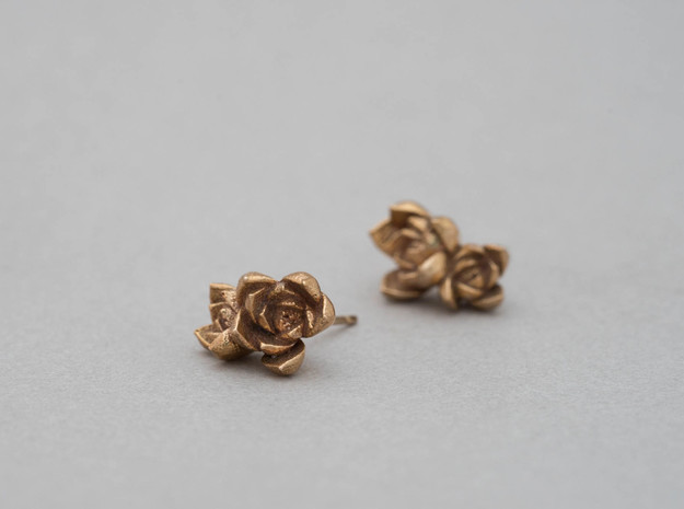Succulent No. 2 Post Studs in Natural Bronze