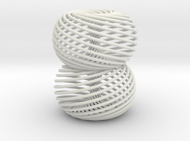 Double Spiral Torus 25/12 in White Natural Versatile Plastic