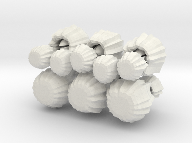 Barnacle, set of 16, low clearance in White Natural Versatile Plastic