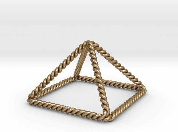 """Twisted Giza Pyramid 2.2"""" in Polished Gold Steel"""