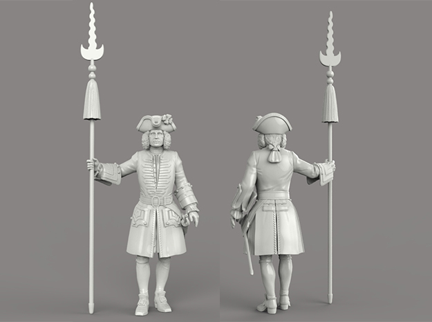 french Louis XV pikeman 75mm in White Strong & Flexible