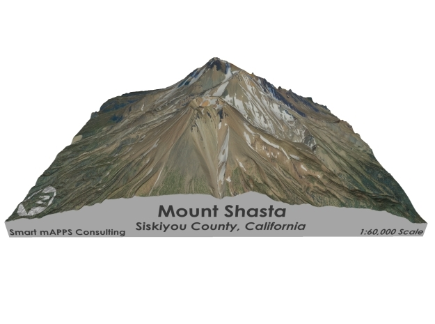 "Mount Shasta Map: 6""x6"" in Full Color Sandstone"