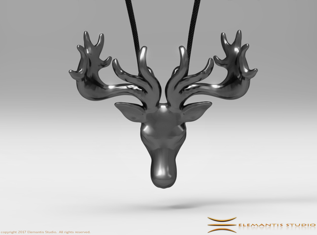 Faceted Reindeer Pendant  in Stainless Steel: Small