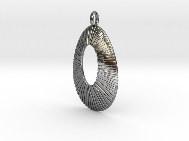 Pendant Coral Structure #2 Version 6B in Polished Silver