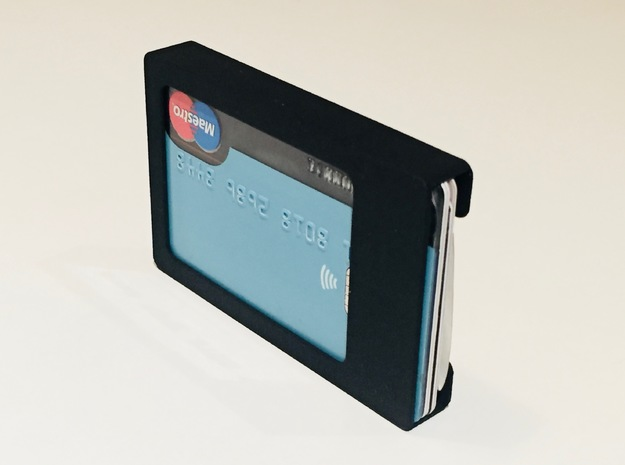 Slim Card Wallet Clip for your Credit/Debit card  in Black Natural Versatile Plastic