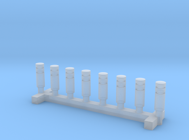 N Scale 8x Road Bollard Modern in Smooth Fine Detail Plastic