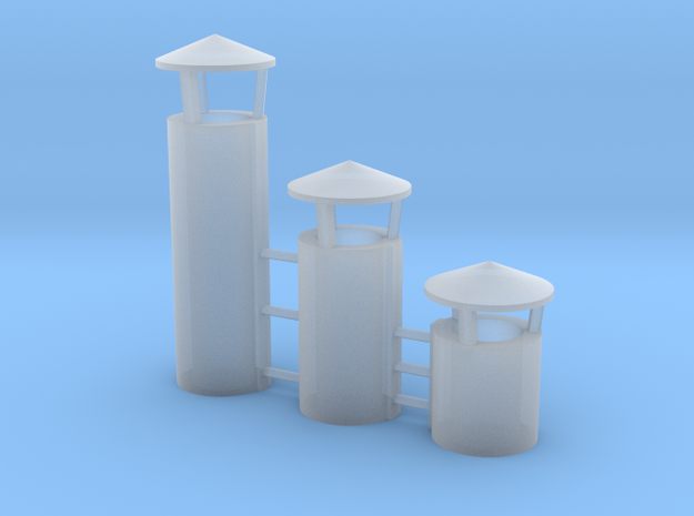 Industry Roof Vent CONICAL TOP O Scale in Smooth Fine Detail Plastic