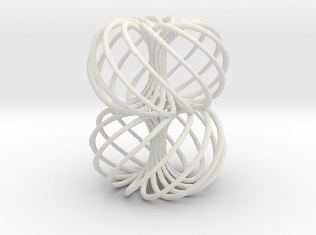 Double Spiral Torus 7/12, golden ratio 2 in White Natural Versatile Plastic