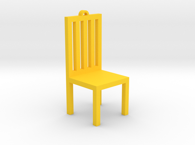 Chair Ornament in Yellow Processed Versatile Plastic