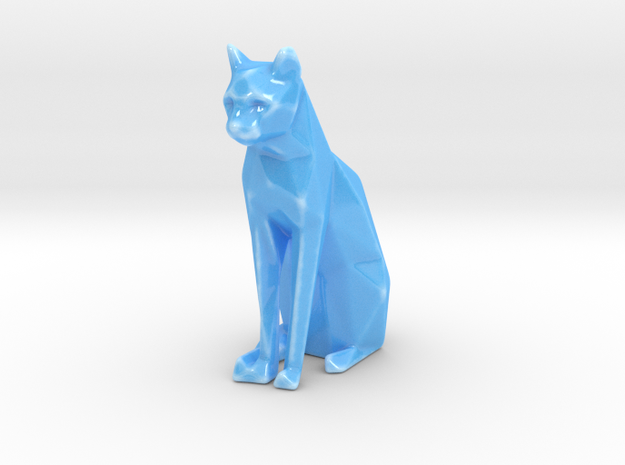 Sitting cat low poly in Gloss Blue Porcelain