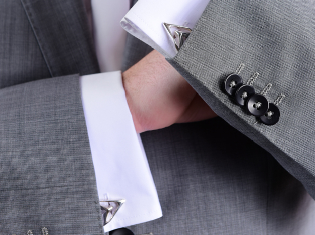 Sharp Astronaut, Cufflinks. Sharp Chic for Him  in Polished Silver