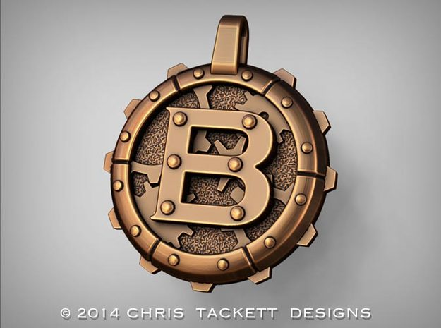 "Steampunk Monogram Pendant ""B"" 3d printed ZBrush Rendering approximating a bronze finish. Actual Bronze finish may look a bit different."