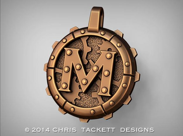 "Steampunk Monogram Pendant ""M"" 3d printed ZBrush Rendering approximating a bronze finish. Actual Bronze finish may look a bit different."