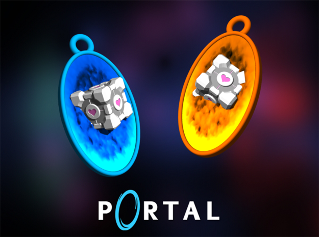 Portal ® Companion Cube through mini Portals in Full Color Sandstone
