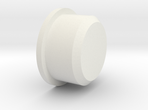 Duck button (Flat) in White Natural Versatile Plastic