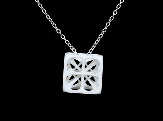 Hexahedron Pendant in White Strong & Flexible Polished