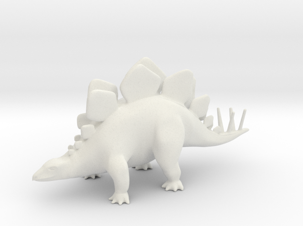 Stegosaurus in White Natural Versatile Plastic