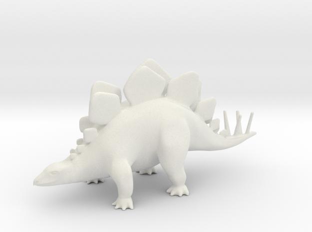 Stegosaurus in White Natural Versatile Plastic