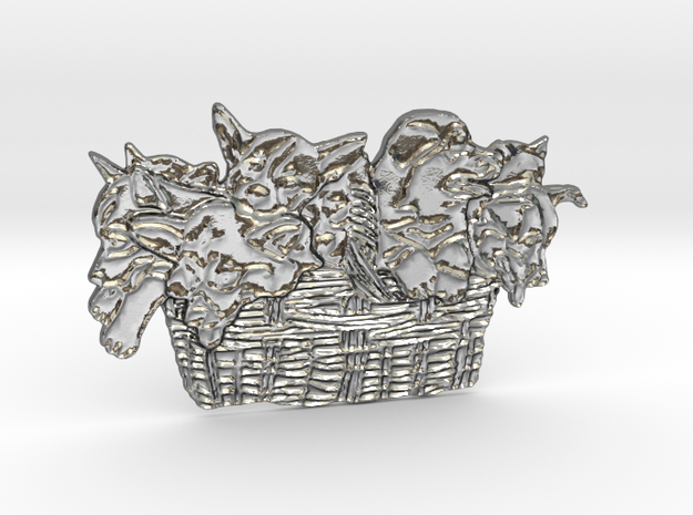 Gather Ye Puppies While Ye May in Polished Silver