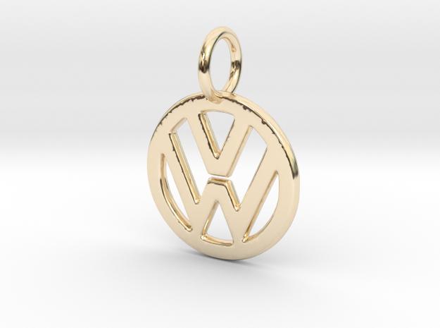VOLKSWAGEN Logo Pendant in 14K Yellow Gold