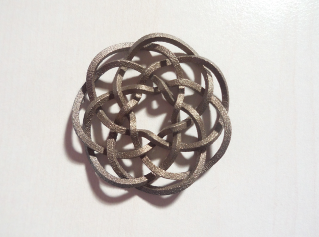 Rose knot 7/5 (Square) in Polished Bronze Steel: Extra Small