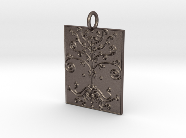 Tree of Life Veve Pendant in Polished Bronzed Silver Steel