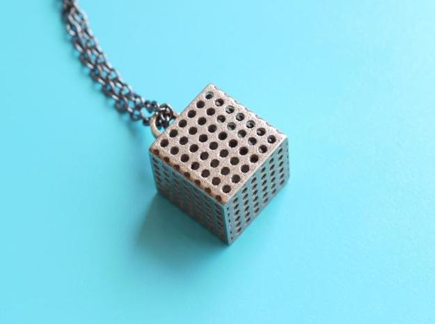Perforated Cube Pendant  in Stainless Steel