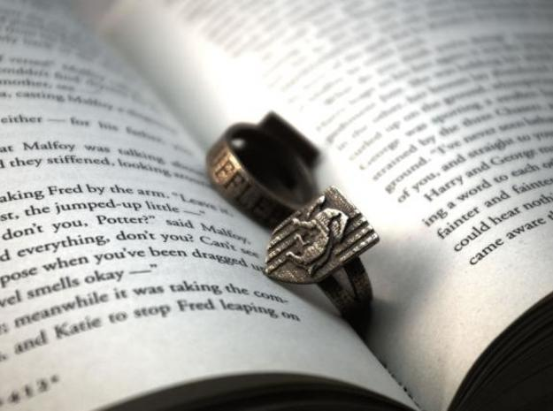 Hufflepuff Ring Size 5 in Polished Bronzed Silver Steel