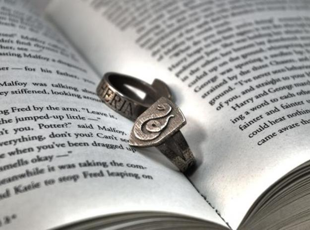 Slytherin Ring Size 7 in Polished Bronzed Silver Steel
